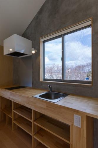 デザイナーズ 住宅 キッチン 木 カウンター シンプル モダン